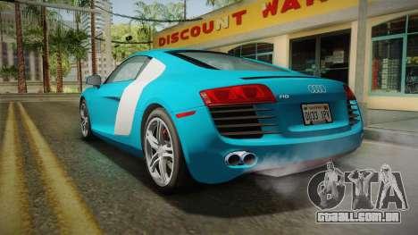 Audi R8 Coupe 4.2 FSI quattro US-Spec v1.0.0 v2 para GTA San Andreas esquerda vista