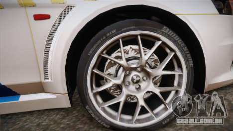 Mitsubishi Lancer Evo X Da Polícia para GTA San Andreas traseira esquerda vista
