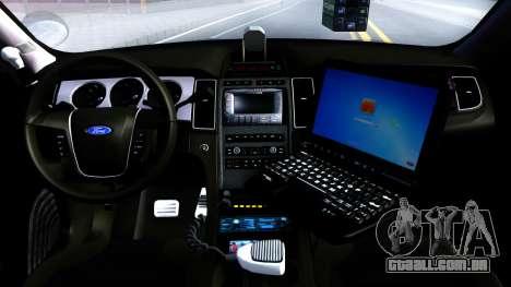Ford Taurus Slicktop Metro Police 2013 para GTA San Andreas vista interior