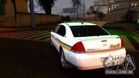 2008 Chevrolet Impala LTZ County Sheriff para GTA San Andreas traseira esquerda vista