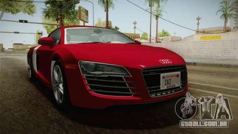 Audi R8 Coupe 4.2 FSI quattro US-Spec v1.0.0 YCH para GTA San Andreas vista direita