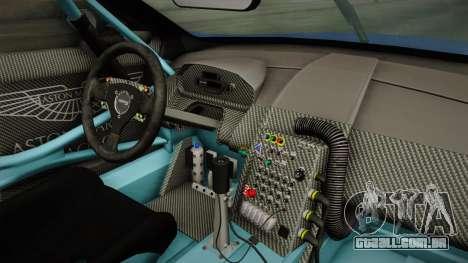 Aston Martin Racing DBR9 2005 v2.0.1 Dirt para GTA San Andreas vista interior