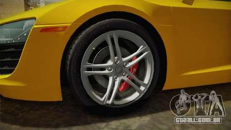 Audi R8 Coupe 4.2 FSI quattro US-Spec v1.0.0 para GTA San Andreas vista traseira
