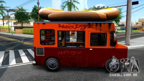 New HotDog Van para GTA San Andreas traseira esquerda vista