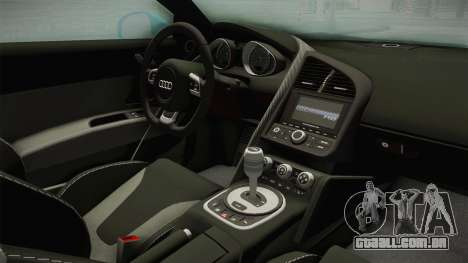 Audi R8 Coupe 4.2 FSI quattro US-Spec v1.0.0 v2 para GTA San Andreas vista interior