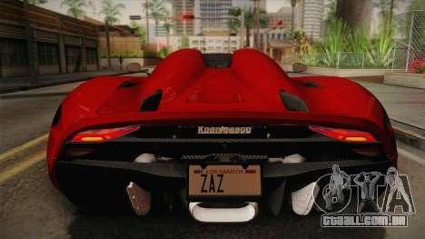 Koenigsegg Regera 2016 para GTA San Andreas vista traseira