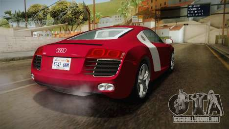 Audi R8 Coupe 4.2 FSI quattro US-Spec v1.0.0 YCH para GTA San Andreas traseira esquerda vista