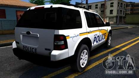 Ford Explorer Slicktop Metro Police 2010 para GTA San Andreas vista traseira