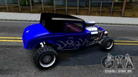 Duke Blue Hotknife Race Car para GTA San Andreas traseira esquerda vista