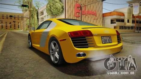 Audi R8 Coupe 4.2 FSI quattro US-Spec v1.0.0 para GTA San Andreas vista direita