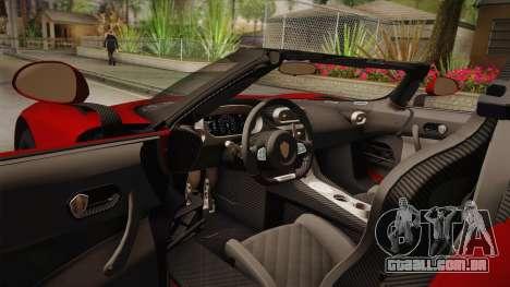 Koenigsegg Regera 2016 para GTA San Andreas vista interior
