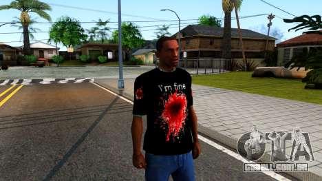 Black I am Fine T-Shirt para GTA San Andreas segunda tela