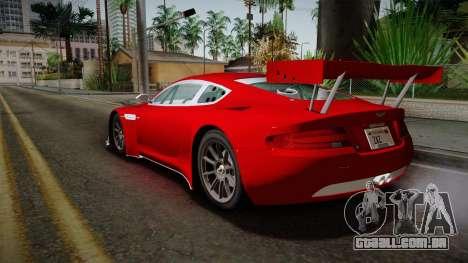 Aston Martin Racing DBRS9 GT3 2006 v1.0.6 YCH v2 para GTA San Andreas vista direita