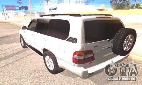 Toyota Land Cruiser 100 para GTA San Andreas esquerda vista