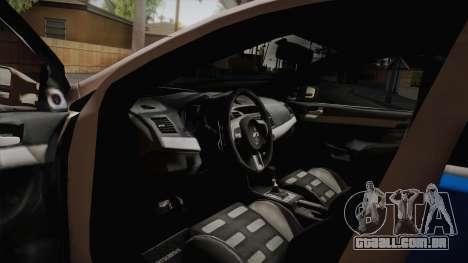 Mitsubishi Lancer Evo X Da Polícia para GTA San Andreas vista direita