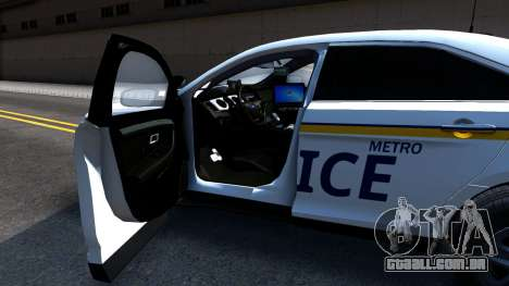 Ford Taurus Slicktop Metro Police 2013 para GTA San Andreas vista traseira