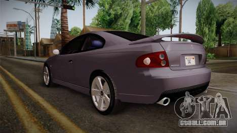 Pontiac GTO Hot Wheels NASCAR PJ para GTA San Andreas traseira esquerda vista