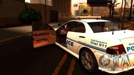 1998 Dinka Chavos Montgomery Police Department para GTA San Andreas vista traseira