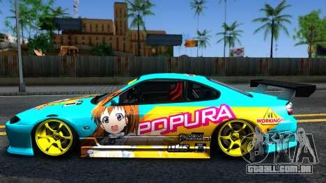 Taneshima Popura NISSAN Silvia S15 Itasha para GTA San Andreas esquerda vista