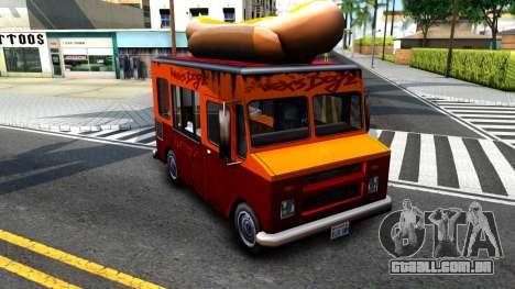 New HotDog Van para GTA San Andreas esquerda vista
