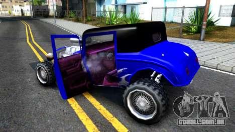Duke Blue Hotknife Race Car para GTA San Andreas vista interior