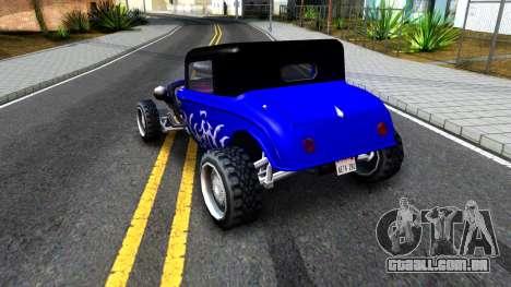 Duke Blue Hotknife Race Car para GTA San Andreas vista direita