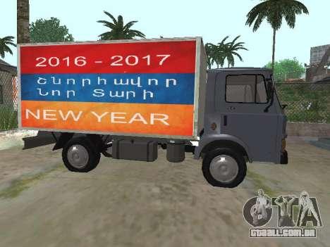 Zastava 640 Armenian para GTA San Andreas traseira esquerda vista