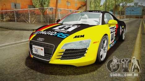 Audi R8 Coupe 4.2 FSI quattro US-Spec v1.0.0 YCH para GTA San Andreas vista inferior
