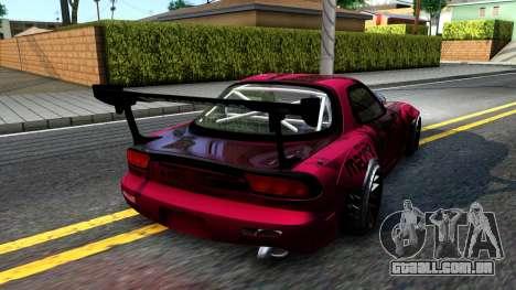 Mazda RX-7 Madbull Rocket Bunny para GTA San Andreas traseira esquerda vista