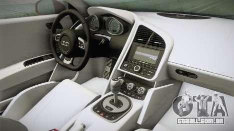 Audi R8 Coupe 4.2 FSI quattro US-Spec v1.0.0 YCH para GTA San Andreas vista interior