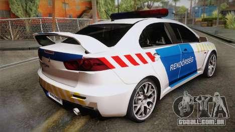 Mitsubishi Lancer Evo X Da Polícia para GTA San Andreas esquerda vista