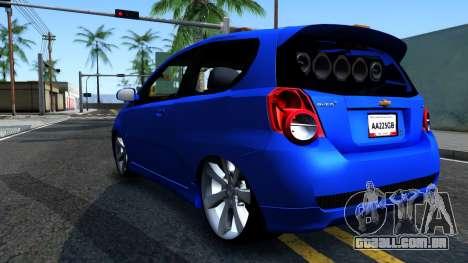 Chevrolet Aveo 2012 para GTA San Andreas traseira esquerda vista
