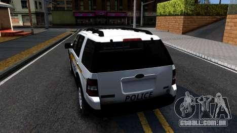 Ford Explorer Slicktop Metro Police 2010 para GTA San Andreas traseira esquerda vista