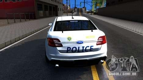 Ford Taurus Slicktop Metro Police 2013 para GTA San Andreas traseira esquerda vista