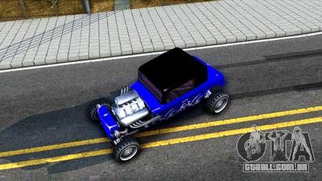 Duke Blue Hotknife Race Car para GTA San Andreas vista traseira