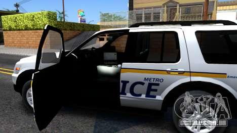 Ford Explorer Slicktop Metro Police 2010 para GTA San Andreas vista interior