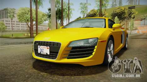 Audi R8 Coupe 4.2 FSI quattro US-Spec v1.0.0 para GTA San Andreas