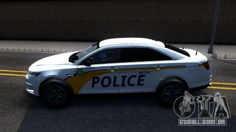 Ford Taurus Slicktop Metro Police 2013 para GTA San Andreas esquerda vista