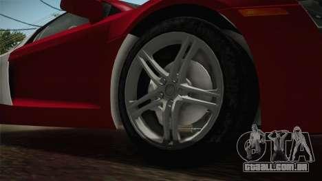 Audi R8 Coupe 4.2 FSI quattro US-Spec v1.0.0 YCH para GTA San Andreas vista traseira