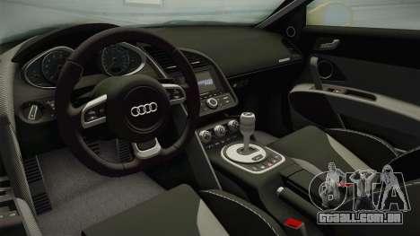 Audi R8 Coupe 4.2 FSI quattro US-Spec v1.0.0 para GTA San Andreas vista interior