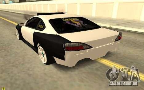 Nissan Silva S15 para GTA San Andreas traseira esquerda vista