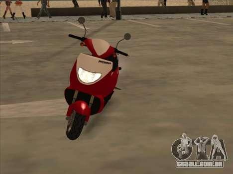 GTA IV Faggio para GTA San Andreas traseira esquerda vista