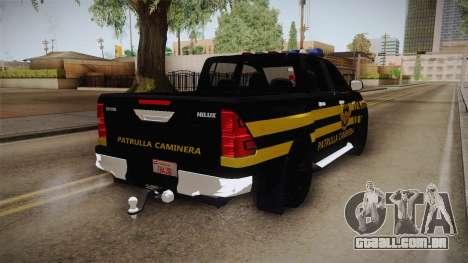 Toyota Hilux 2016 Patrulla Caminera Del Paraguay para GTA San Andreas