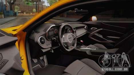 Chevrolet Camaro SS 2017 para GTA San Andreas vista interior