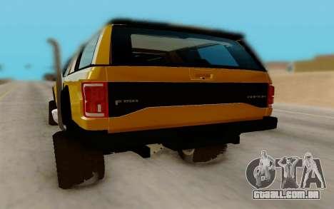 Ford F150 Raptor 4x4 Off-Road para GTA San Andreas vista direita