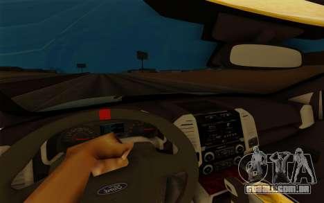 Ford F150 Raptor 4x4 Off-Road para GTA San Andreas vista interior