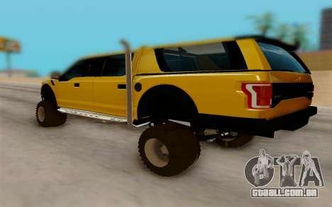Ford F150 Raptor 4x4 Off-Road para GTA San Andreas traseira esquerda vista