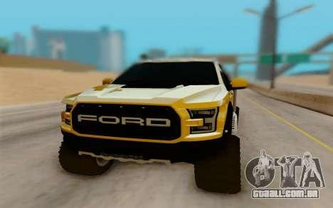 Ford F150 Raptor 4x4 Off-Road para GTA San Andreas vista traseira