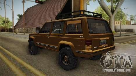 Jeep Cherokee 1984 para GTA San Andreas vista direita