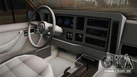 Jeep Cherokee 1984 para GTA San Andreas vista interior